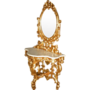 Gold Marble Top Hall Mirror, Vanity with Griffins