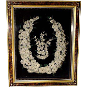 Victorian Framed Feather Wreath, Shadowbox