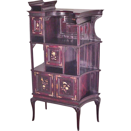 Oriental, Asian Inspired Cabinet with Ivory
