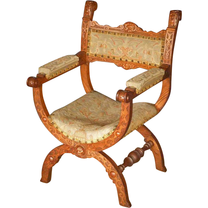 Victorian Oak Savonarola Chair, Armchair