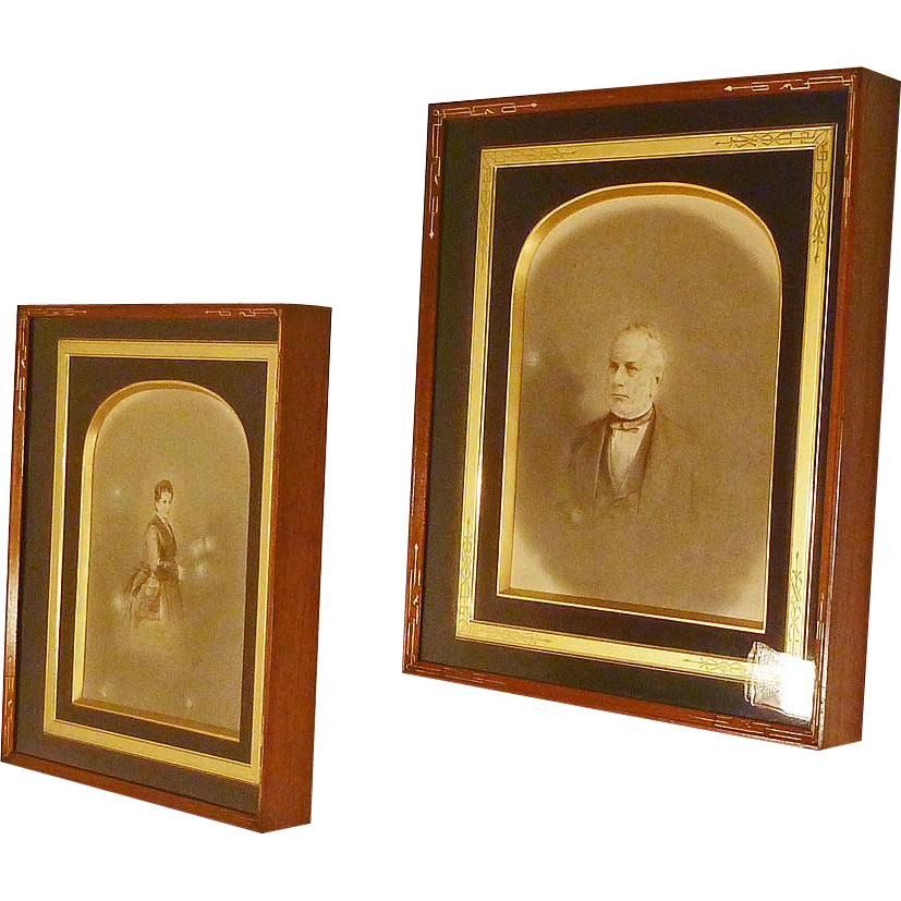 Pair Victorian Walnut Frames