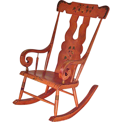 Pennsylvania Painted Rocker, Plank Bottom, Boot Jack