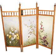 Handpainted Folding Screen with Iris and Hollyhocks