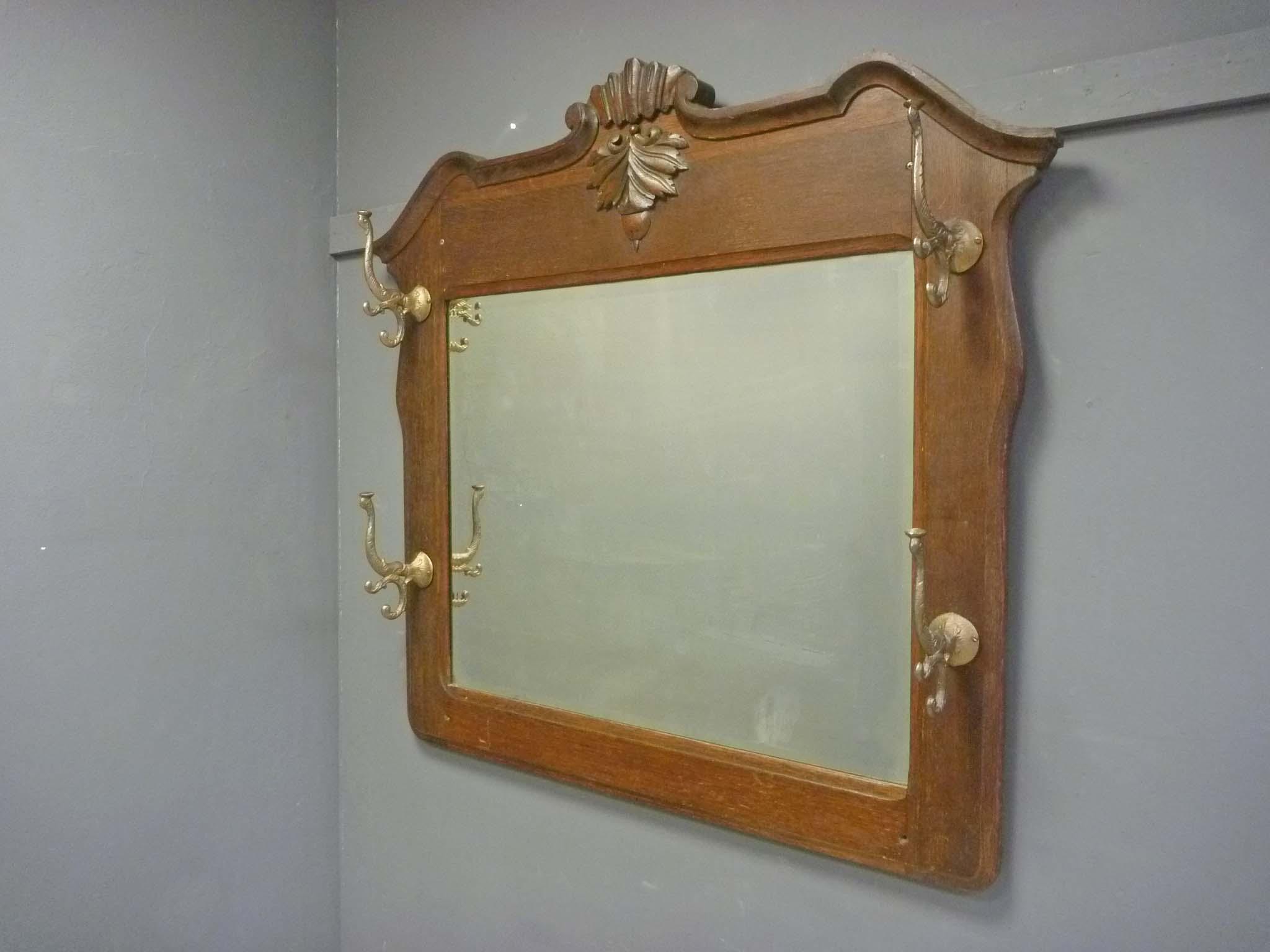Oak Mirror With Coat Amp Hat Rack From Antiquesonhanover On