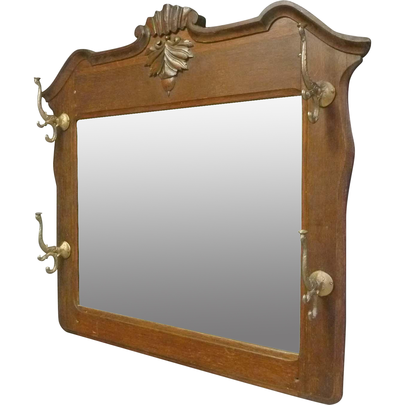Oak Mirror With Coat Amp Hat Rack Antiques On Hanover
