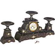 French 3 piece Mantle Clock Set