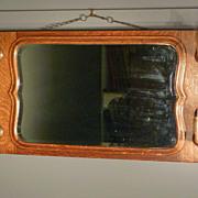 Oak Mirror with Deer Hoof Hat Rack, Gun Rack