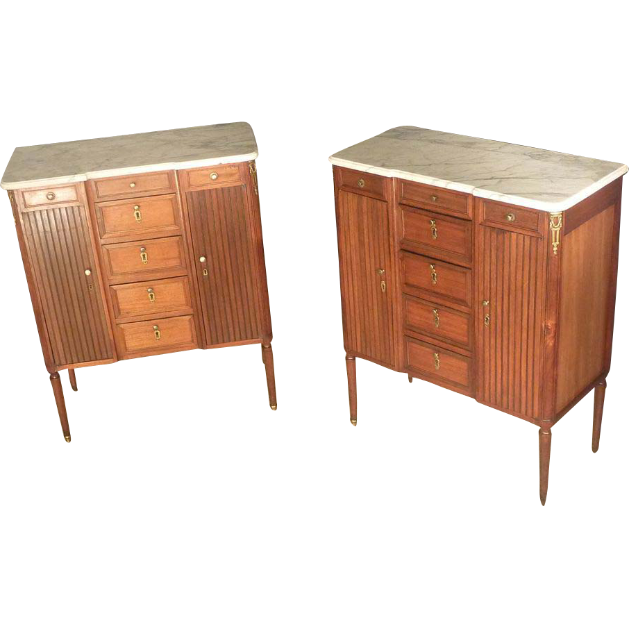Pair Marble Top End Tables, Night Stands