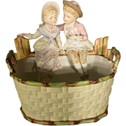 Victorian Bisque Planter with Children, Flower Pot