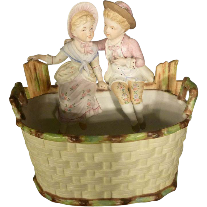 Victorian Bisque Planter with Children, Flower Pot