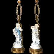 Pair Porcelain Figural Lamps