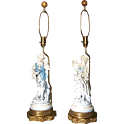 Pair Porcelain Figural Lamps