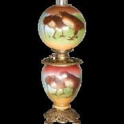 Victorian Kerosene Parlor Lamp with Woodcock