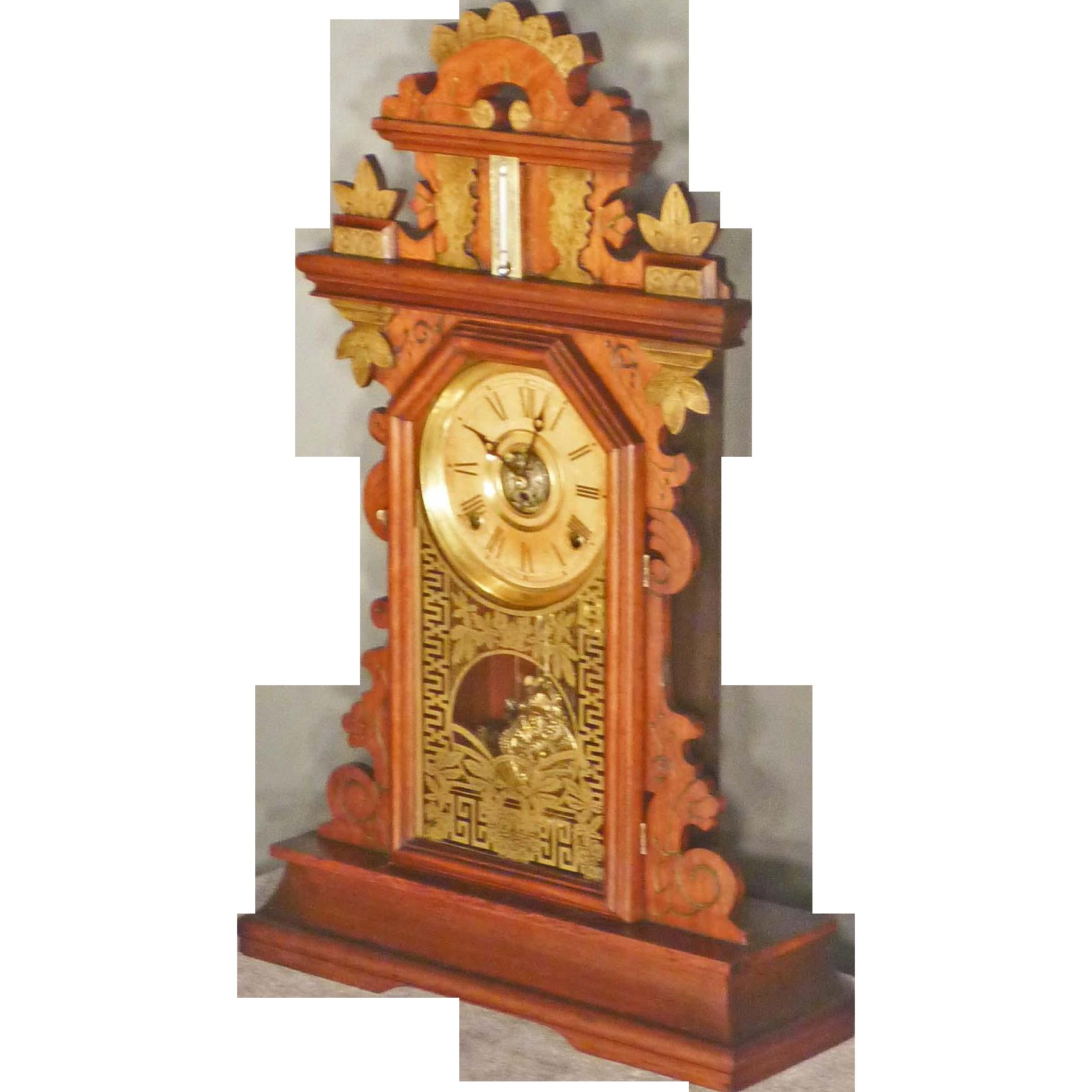 Walnut Victorian Shelf Clock