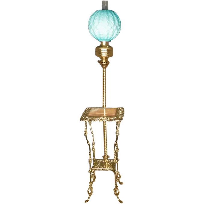 Victorian Brass & Onyx Floor Lamp