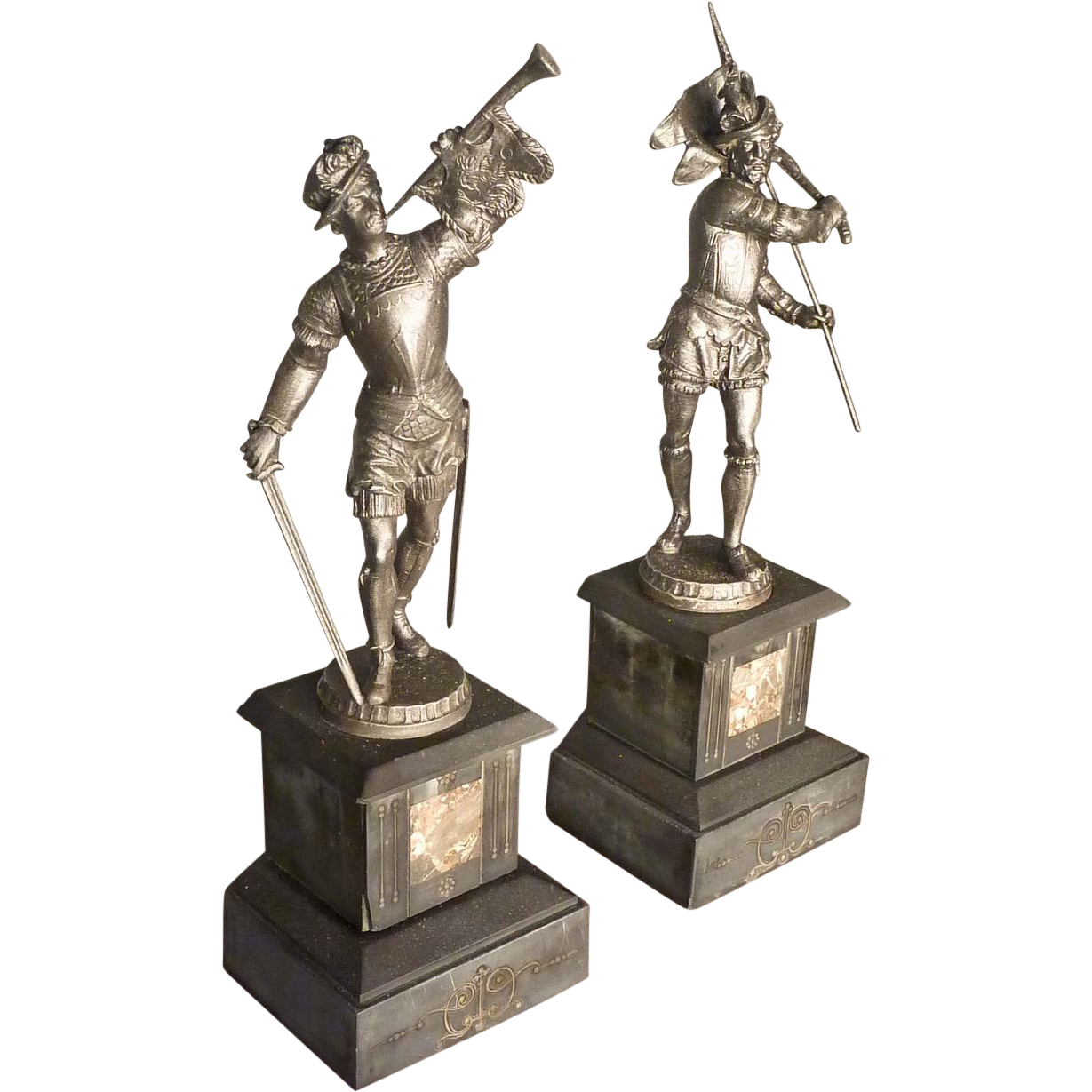 Pair of Marble & Spelter Statues, Garnitures