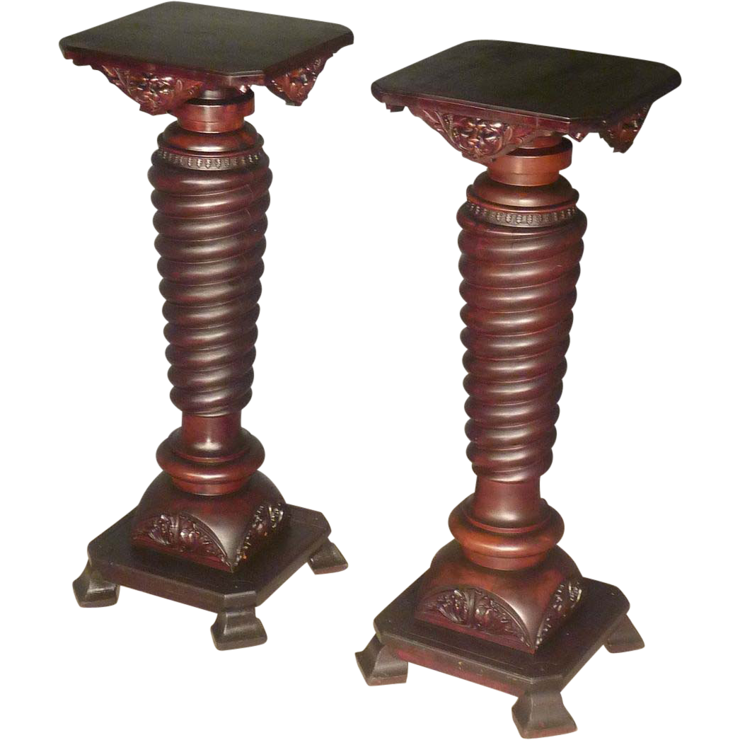Pair Victorian Lion Carved Pedestals