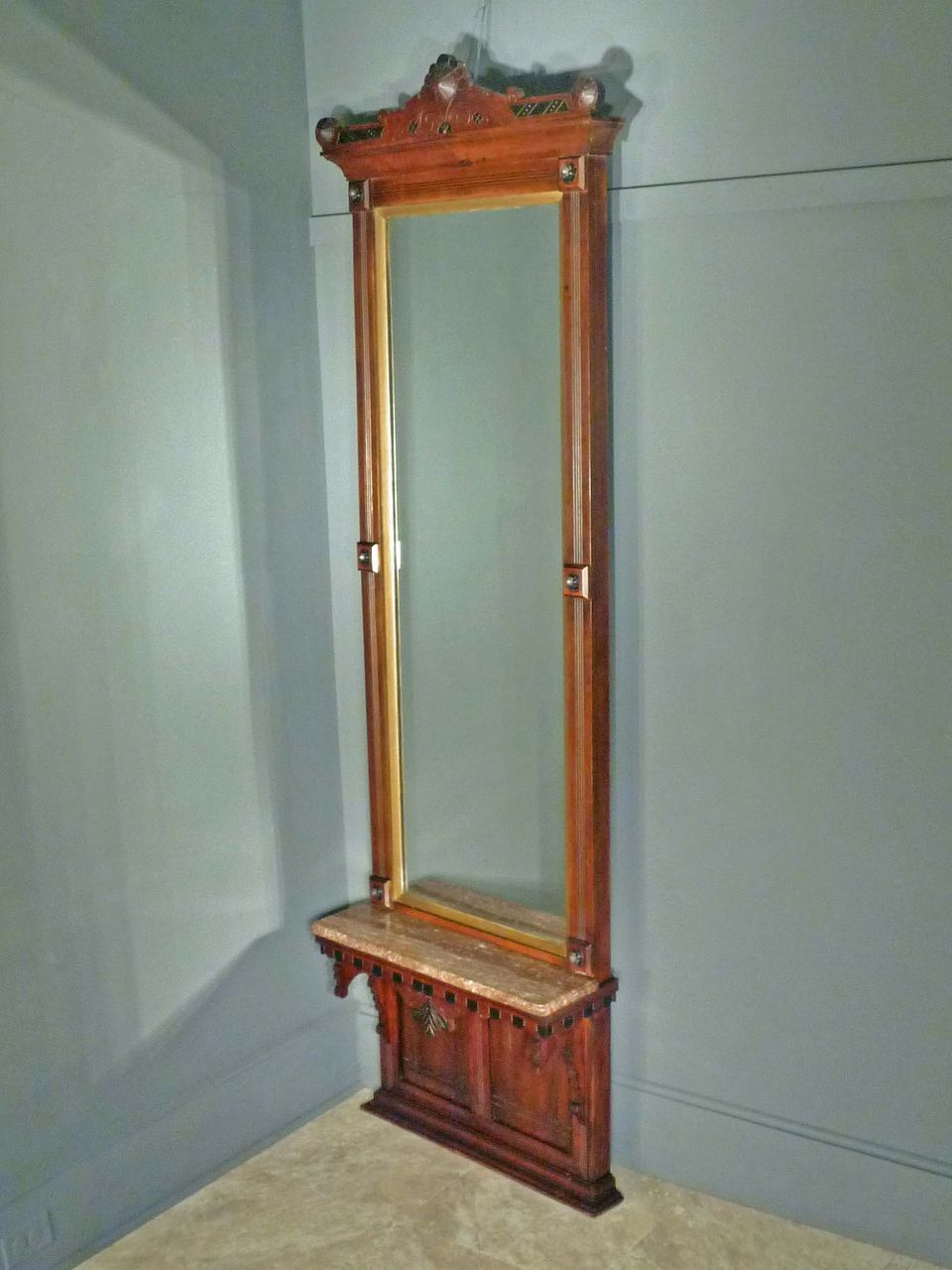 Victorian Eastlake Pier Hall Mirror With Marble Sold