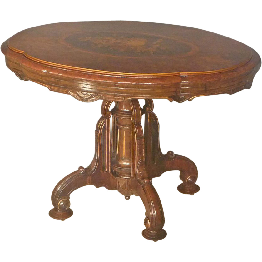 Inlaid Victorian Center Table