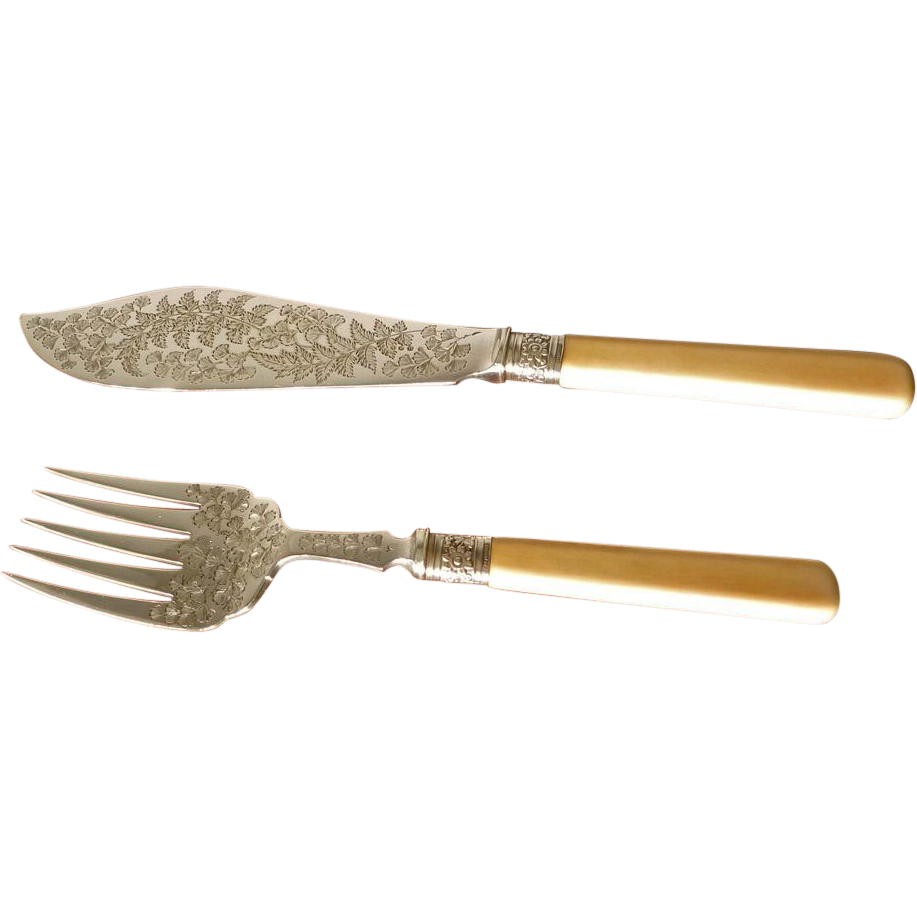 Silver Plate Victorian Fish Set with Bone Handles