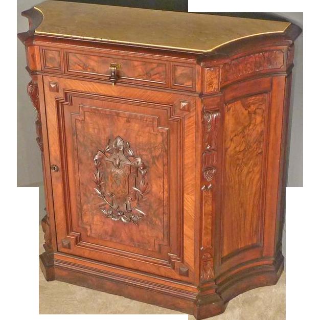 Victorian Marble Top Credenza, Parlor Cabinet