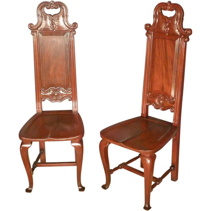 Pair Tall Back Chairs