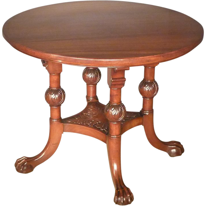 Round Mahogany Center Table