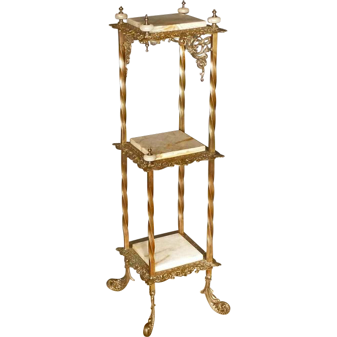 Unusual Corner Brass & Onyx Stand