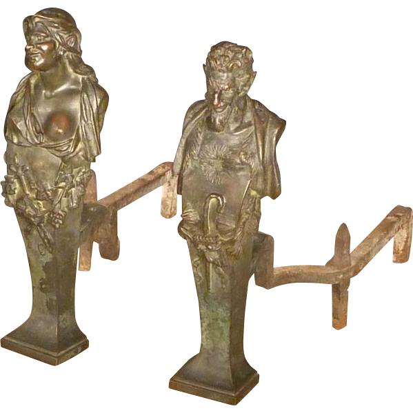 Bronze Mythological Satyr and Maenad Andirons