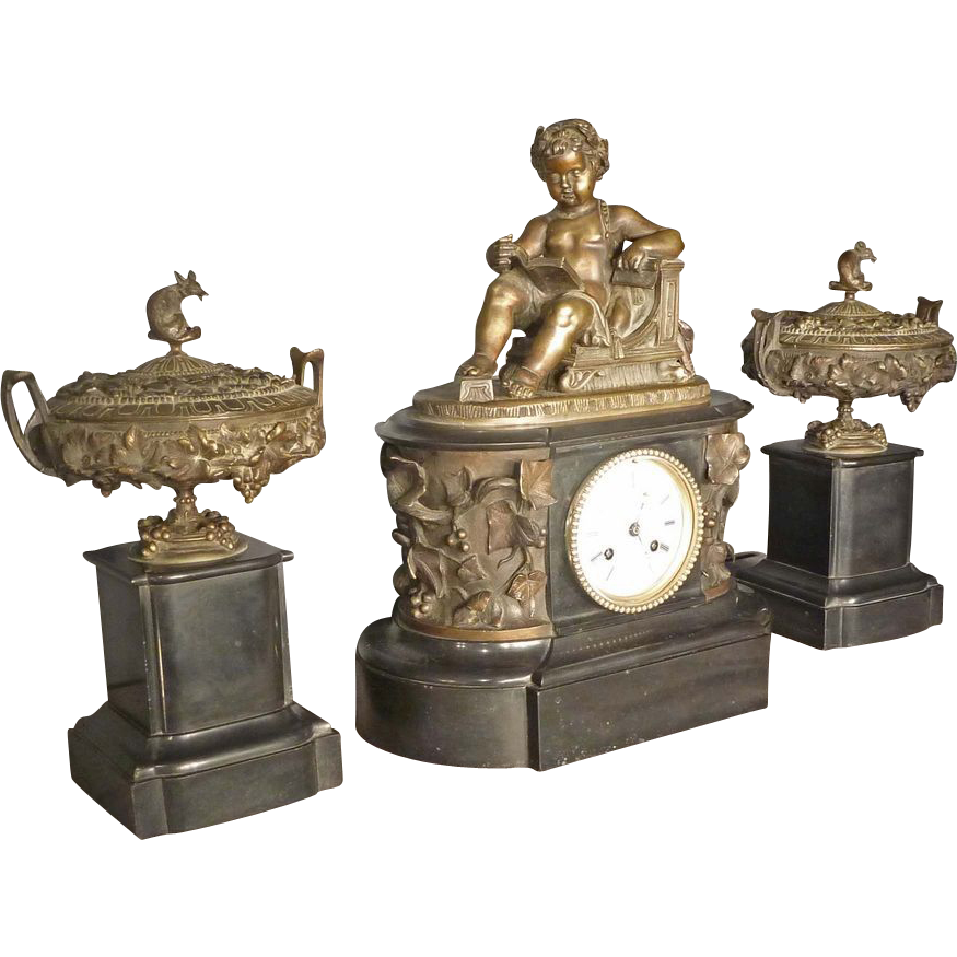 Marble Clock Set with Bronze Castings of Aesops Fable