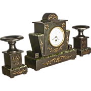 French Marble Clock Set