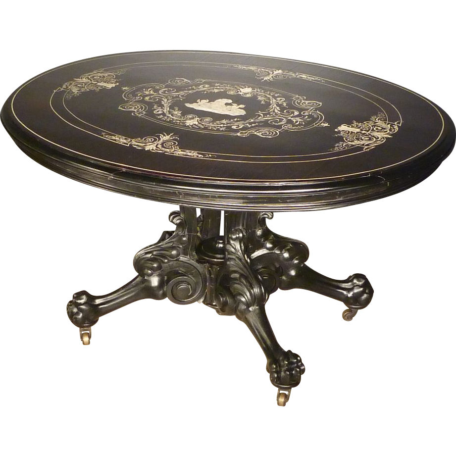 Ebonized Victorian Center Table with Bone Inlay