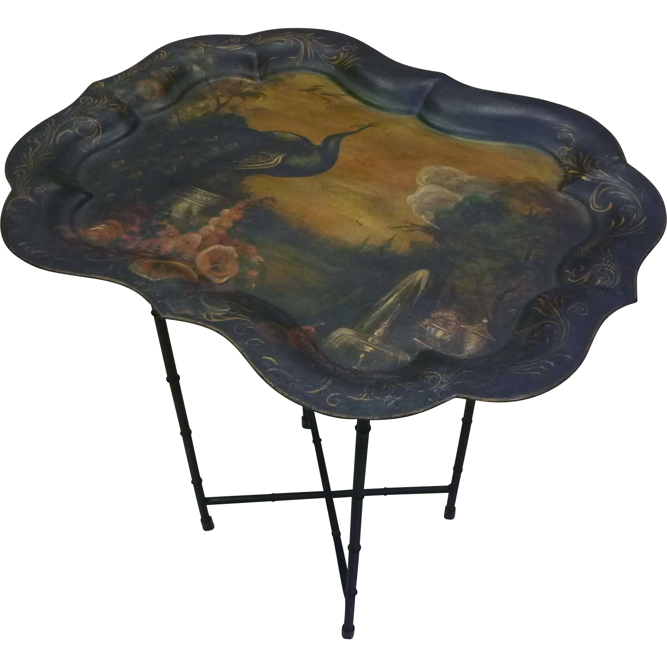 Toleware Tray on Folding Stand
