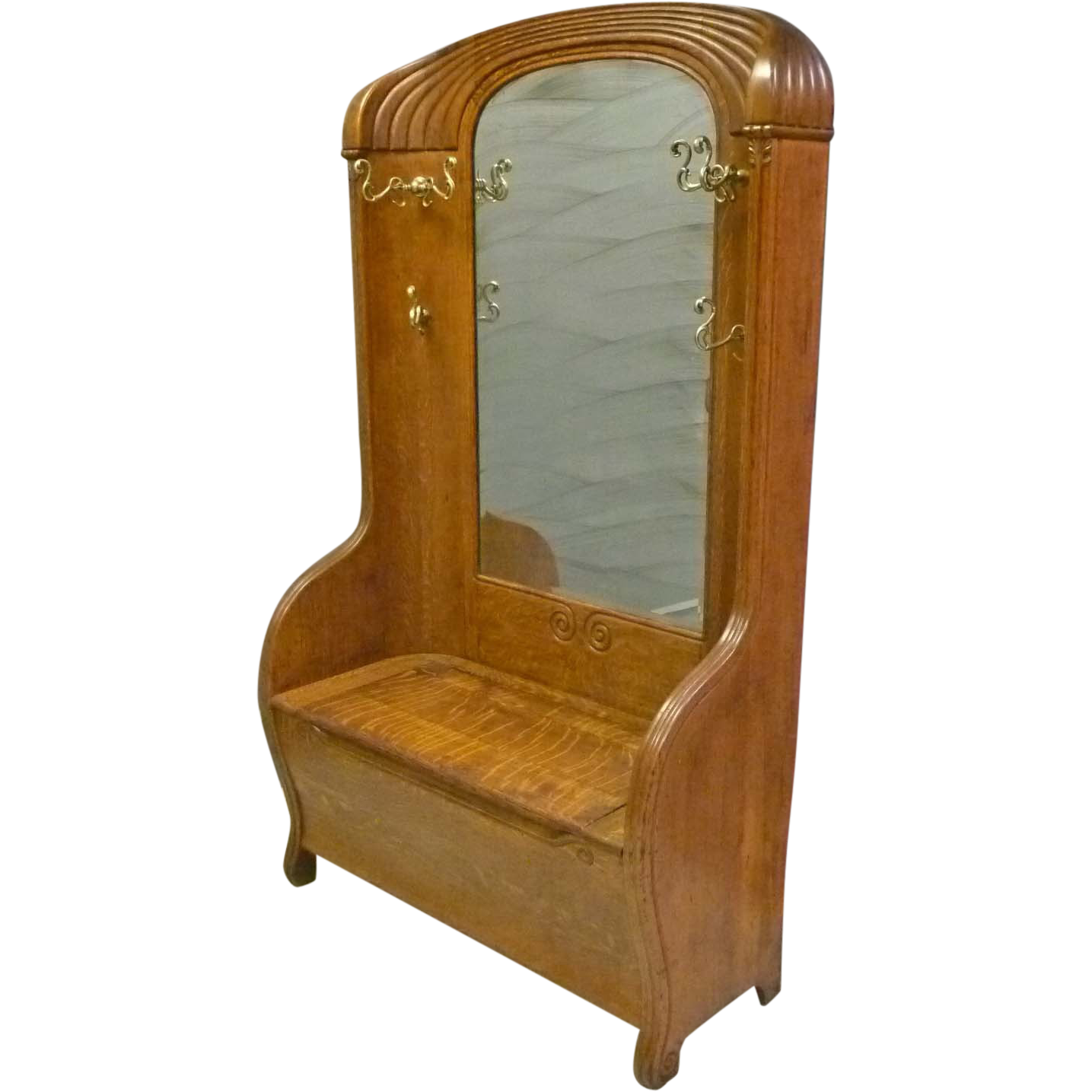 Art Nouveau Oak Hall Bench With Mirror From Antiquesonhanover On Ruby Lane
