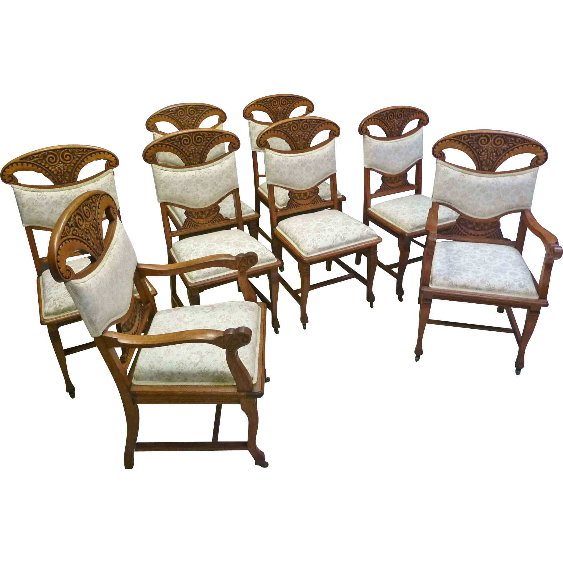 Set of 8 Oak Dining Chairs, Victorian