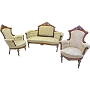 Victorian Parlor Set, Sofa and Armchairs