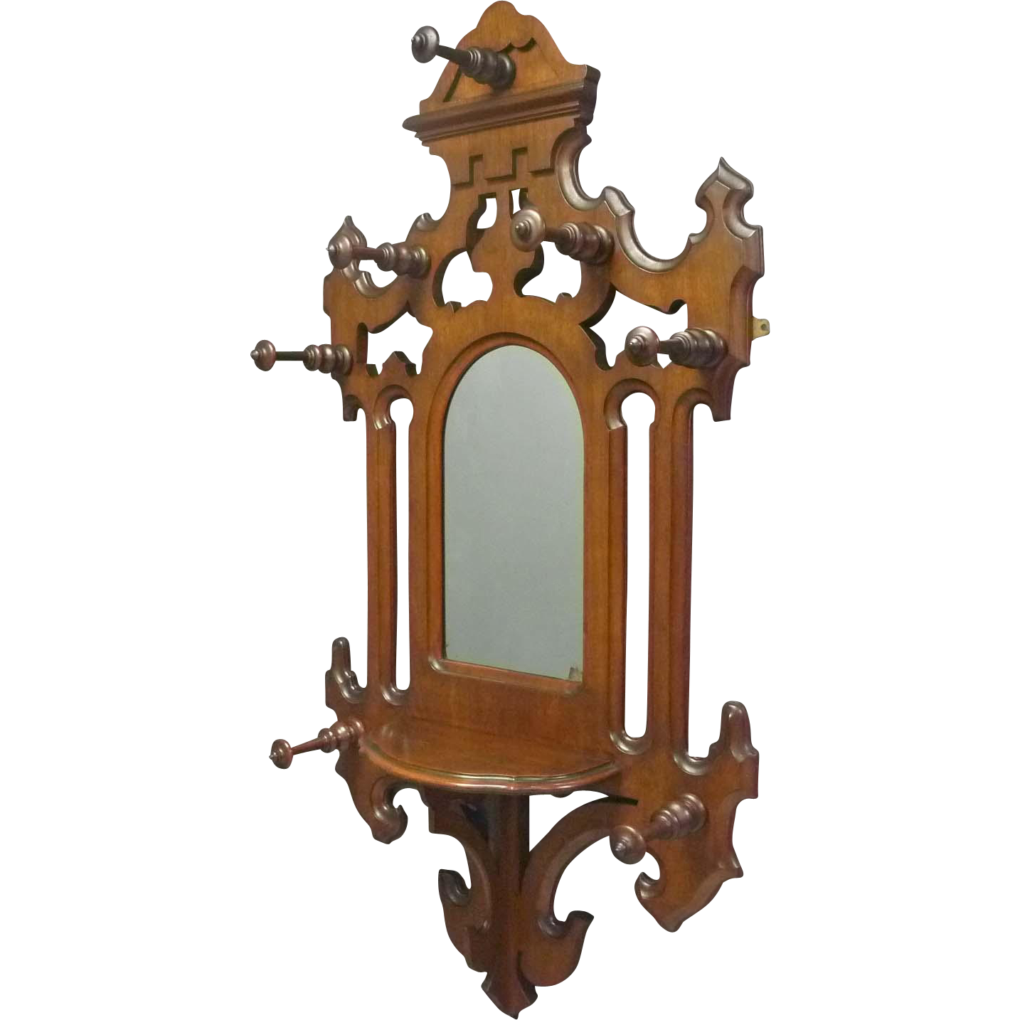 Victorian Hall Mirror With Hat And Coat Rack From