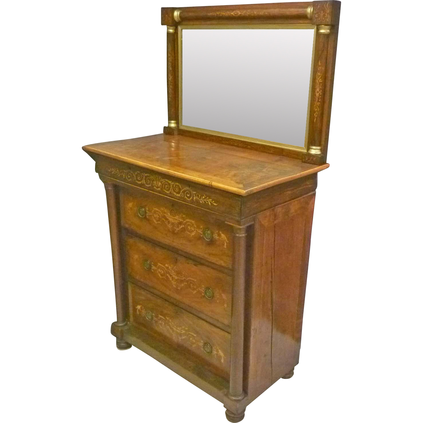 Inlaid Mahogany Chest of Drawers with Mirror