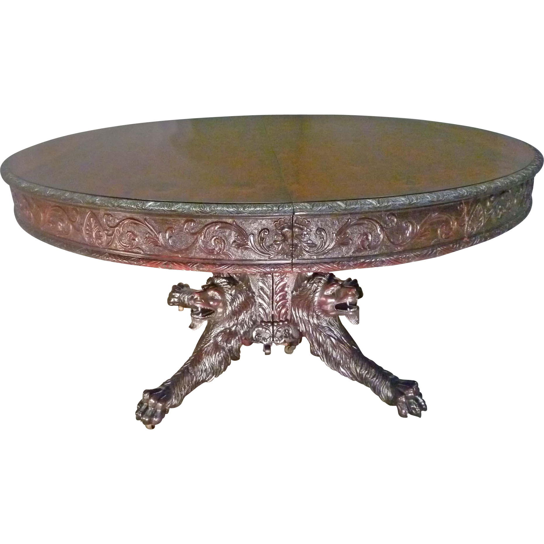 Lion Carved Mahogany Banquet, Dining Table