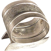 Victorian Silver Plate Napkin Ring with Sled