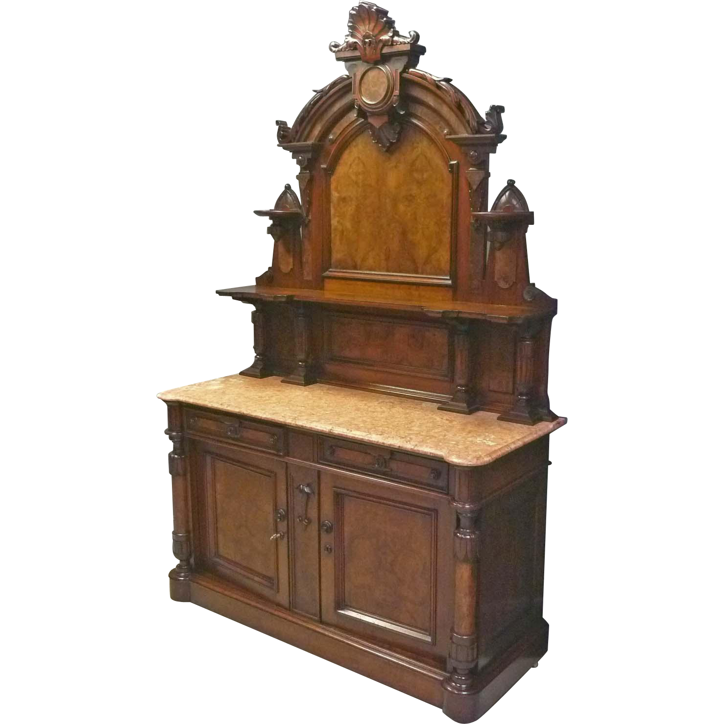 Victorian marble top sideboard buffet from