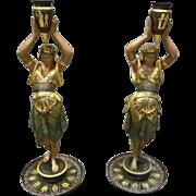 Pair of Metal Greek, Classical Candlesticks