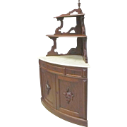 Marble Top Victorian Corner Cabinet Cupboard