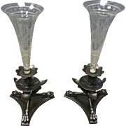 Pair of Bronzed & Cut Glass Girandoles, Vases