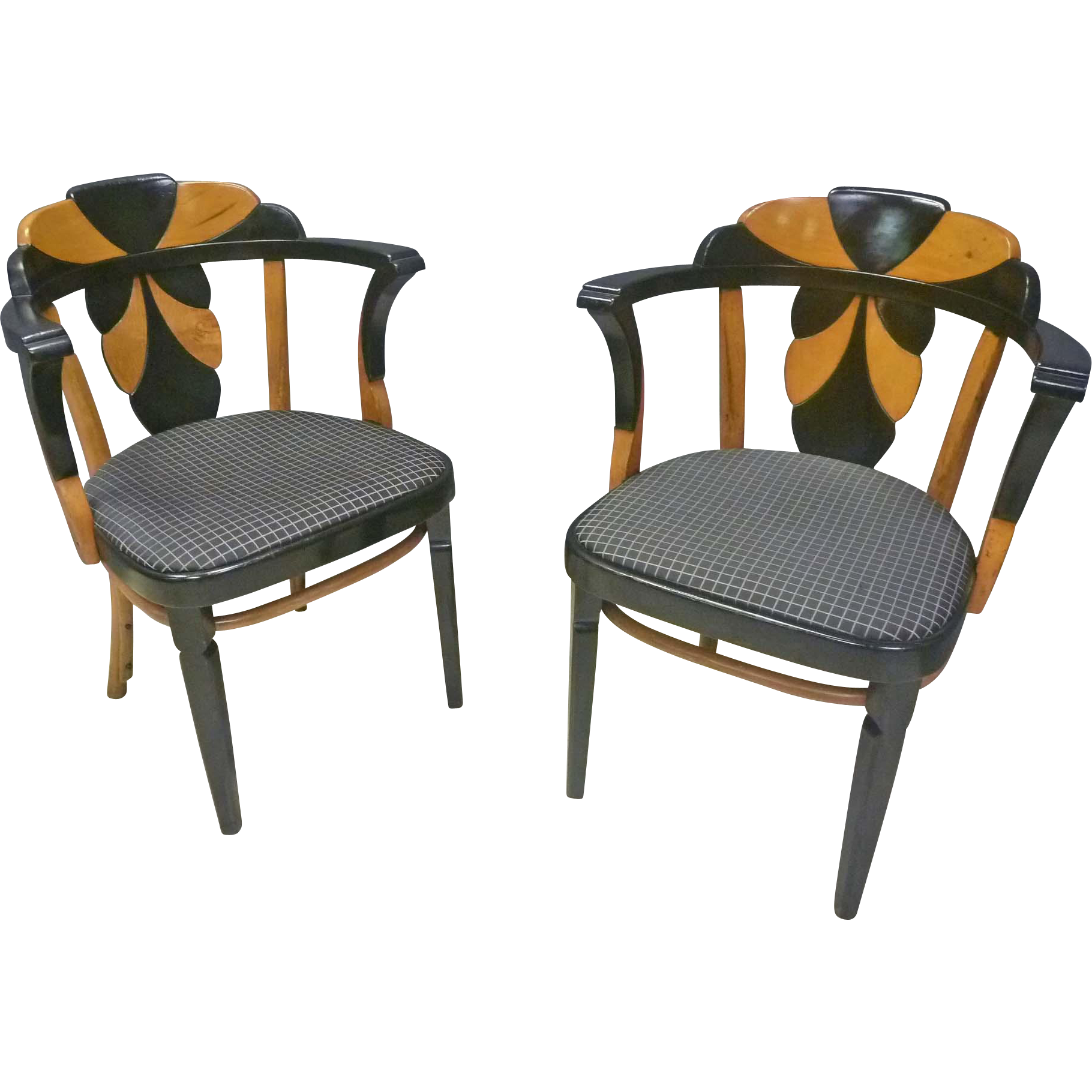 Pair of Bentwood Deco Chairs