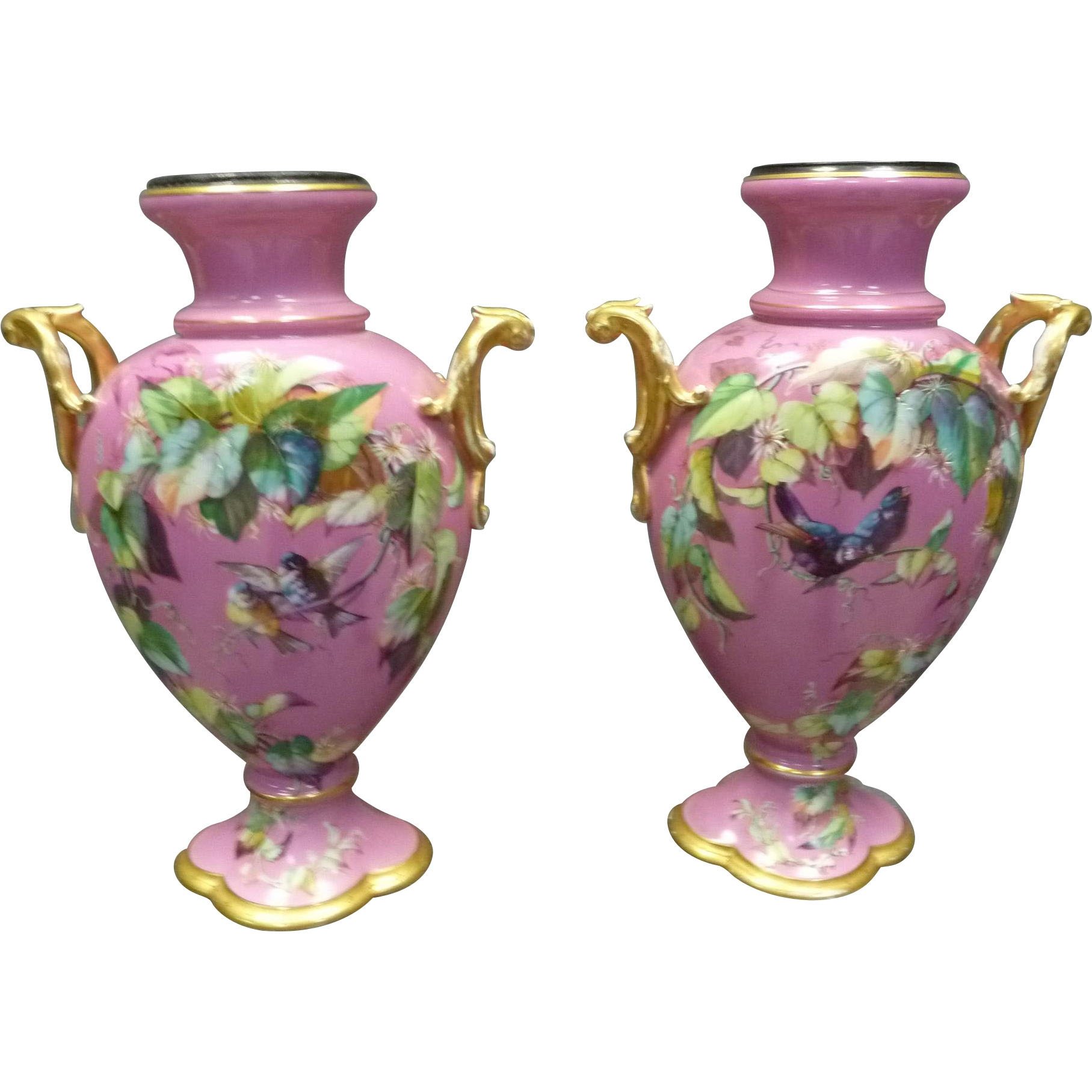 Pair of Old Paris Porcelain Vases
