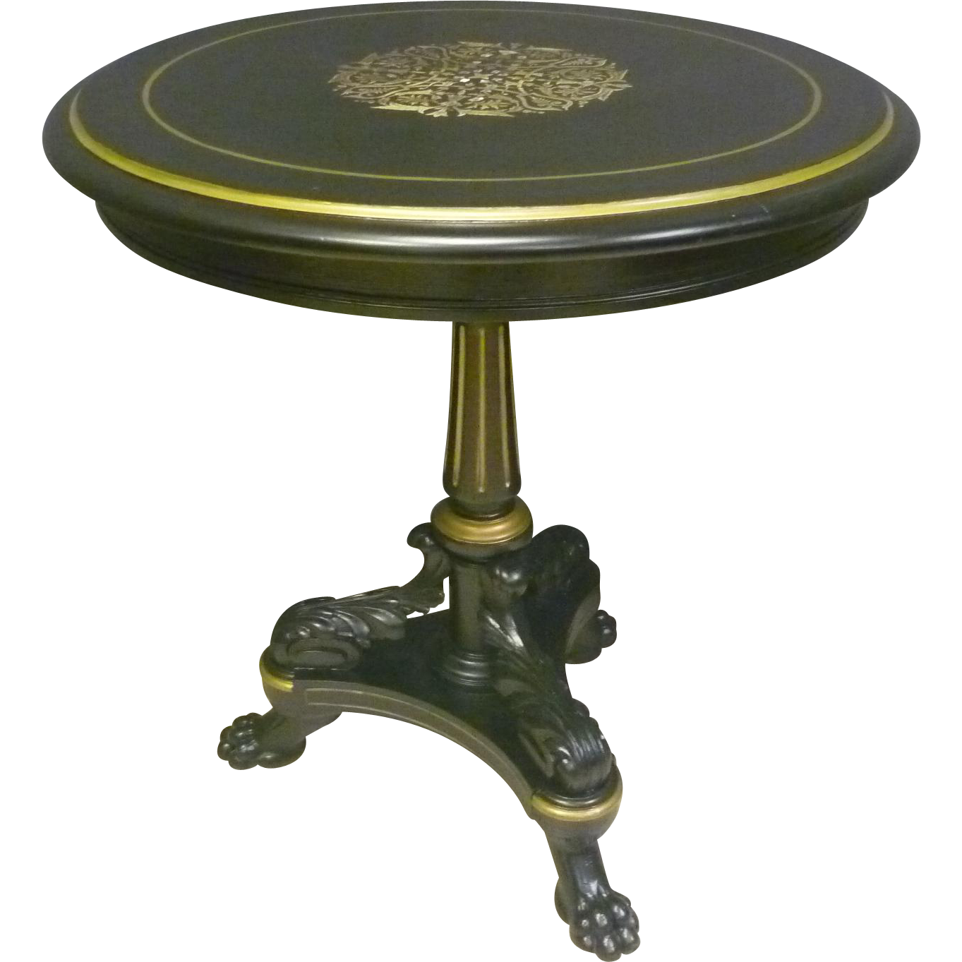 Black Lacquered Table with Brass & Mother-of-Pearl Inlay