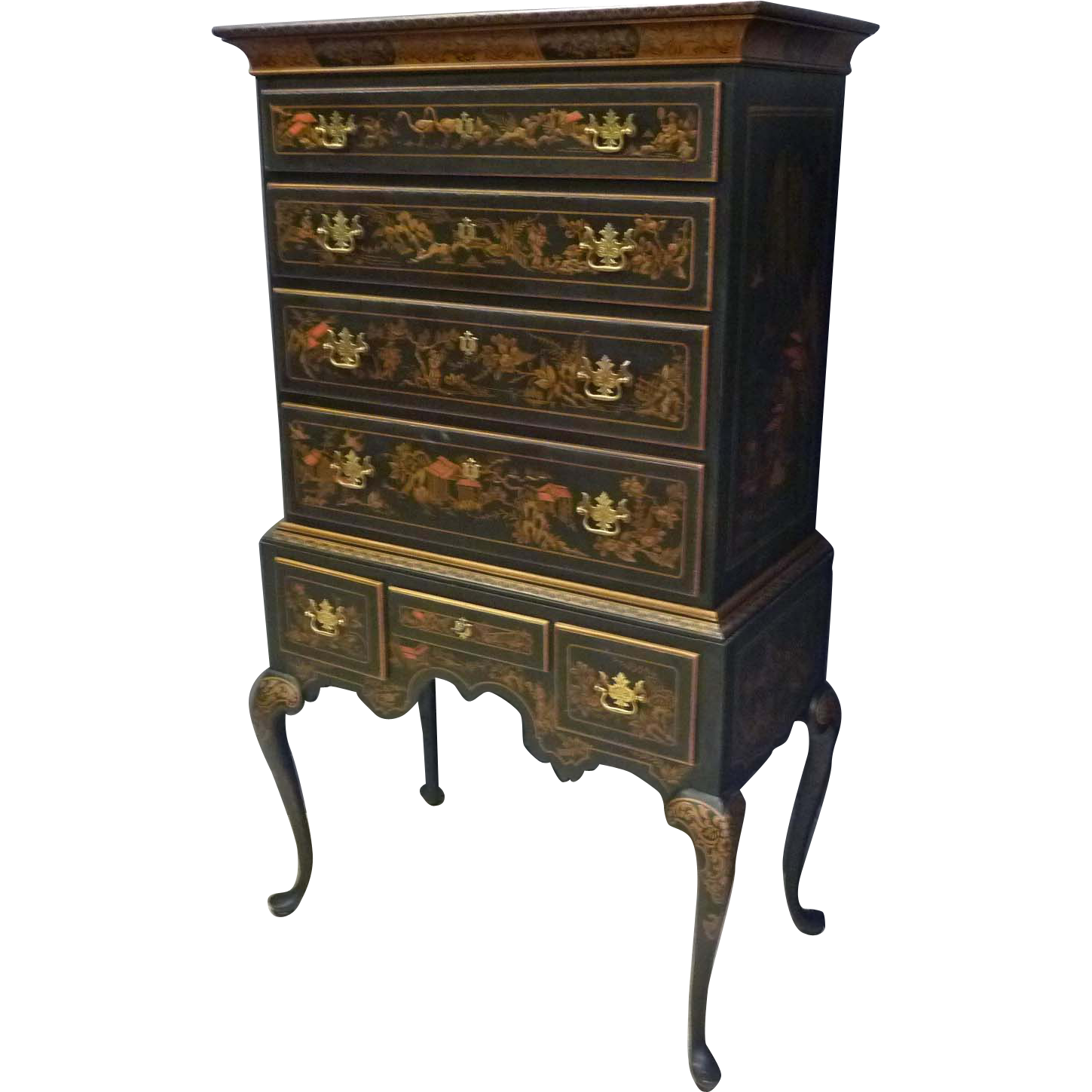 Chinoisserie Black Lacquer Highboy by Drexel