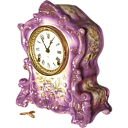 Ansonia Mantle Clock with Purple Flowers