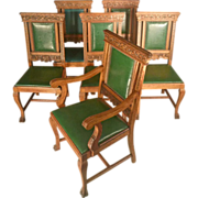 6 Carved Oak Victorian Dining Chairs